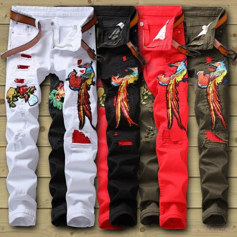 Mens cowboy bird floral Embroidery denim straight leg jeans pants trousers