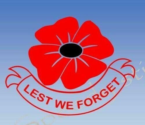 Lest We Forget Remembrance windows x 1 sticker 10 sizes a441