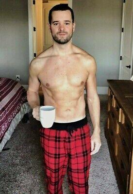 Shirtless Male Hunk Beefcake Muscular Gym Jock Flexing