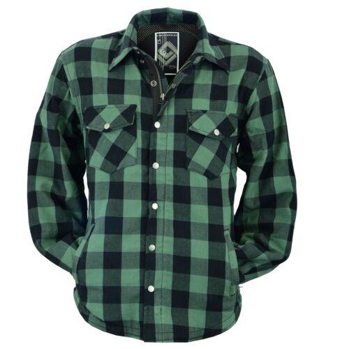 Moto Décontractée TIMBER vert Lumberjack Shirt avec protections Chemise d/'aramide