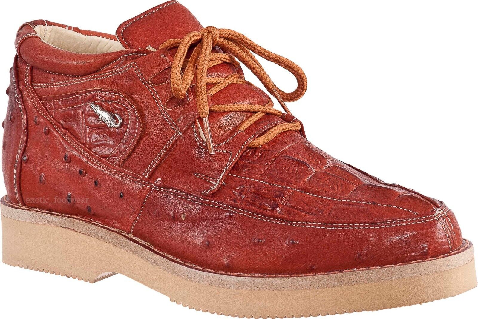 Men's Potro Rebelde Caiman With Ostrich Print Lace Up Sneaker Exotic Casual shoes