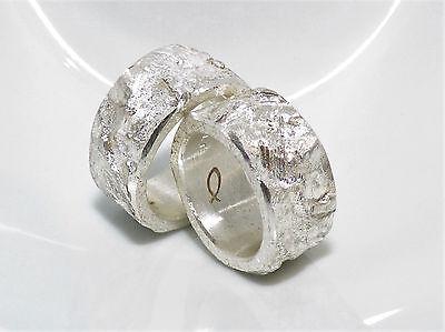 100% QualitäT 10 Mm Breite Partnerringe, Eheringe, Grobe Struktur, Silber 999, Flamere Design