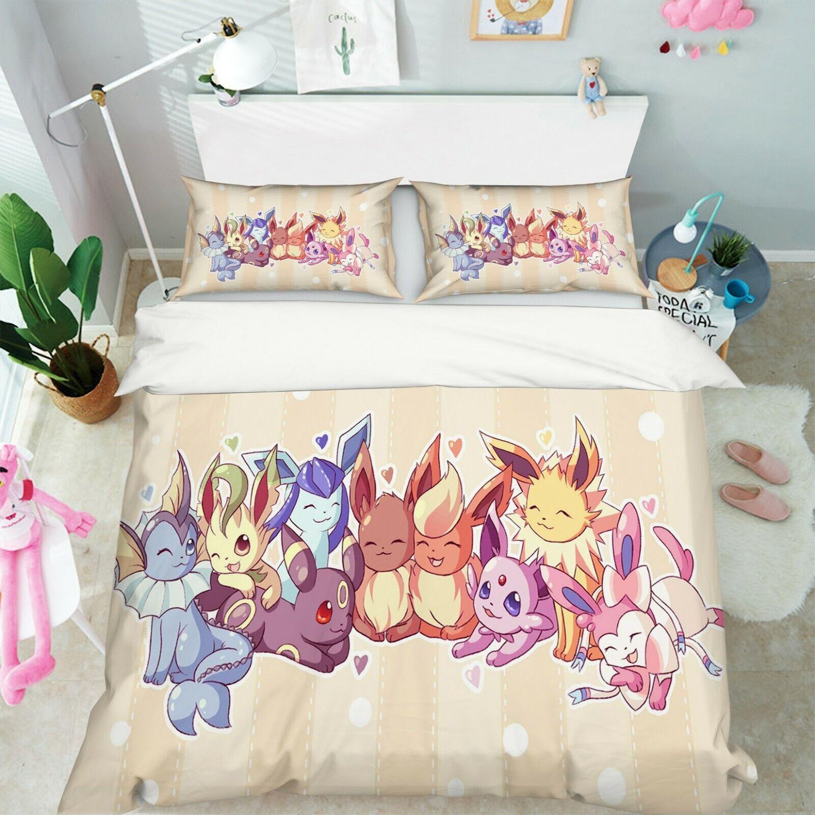 3D Pokemon 205 Japan Anime Bed Pillowcases Quilt Duvet Cover Set Single