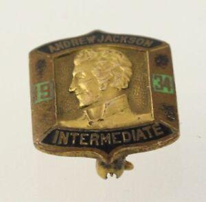 Andrew-JACKSON-Intermediaire-Broche-Vintage-10k-or-Jaune-Revers-1934-Ecole