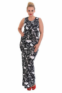 21196f21f New Womens Dress Ladies Maxi Style Gothic Skull   Roses Print Plus ...