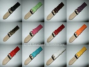 Ladies-Mens-Faux-Leather-Watch-Strap-15-Colours-12mm-22mm