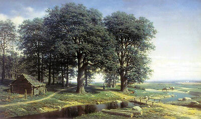 Oil painting Mikhail Klodt - Oak Grove wooden house by river landscape on canvas