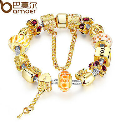 European Gold Plated Bracelet With Key Charms Beads For Women DIY Luxury Jewelry