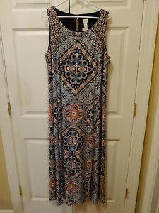 New Women Chicos Blue Multi Sleeveless Summer Maxi Long Dress Size 4/XL