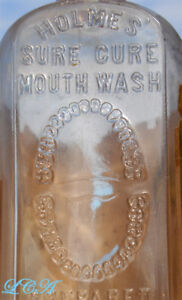 1880-039-s-DENTAL-bottle-HOLMES-039-SURE-CURE-DENTIFRICE-bottle-w-pic-TEETH-and-LABEL