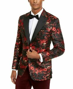 Tallia-Mens-Blazer-Red-Size-42-Short-Floral-Print-Slim-Fit-One-Button-350-085