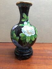"6.25"" High Cloisonne Vase on Wood Stand China Chinese Floral Rose Pattern"