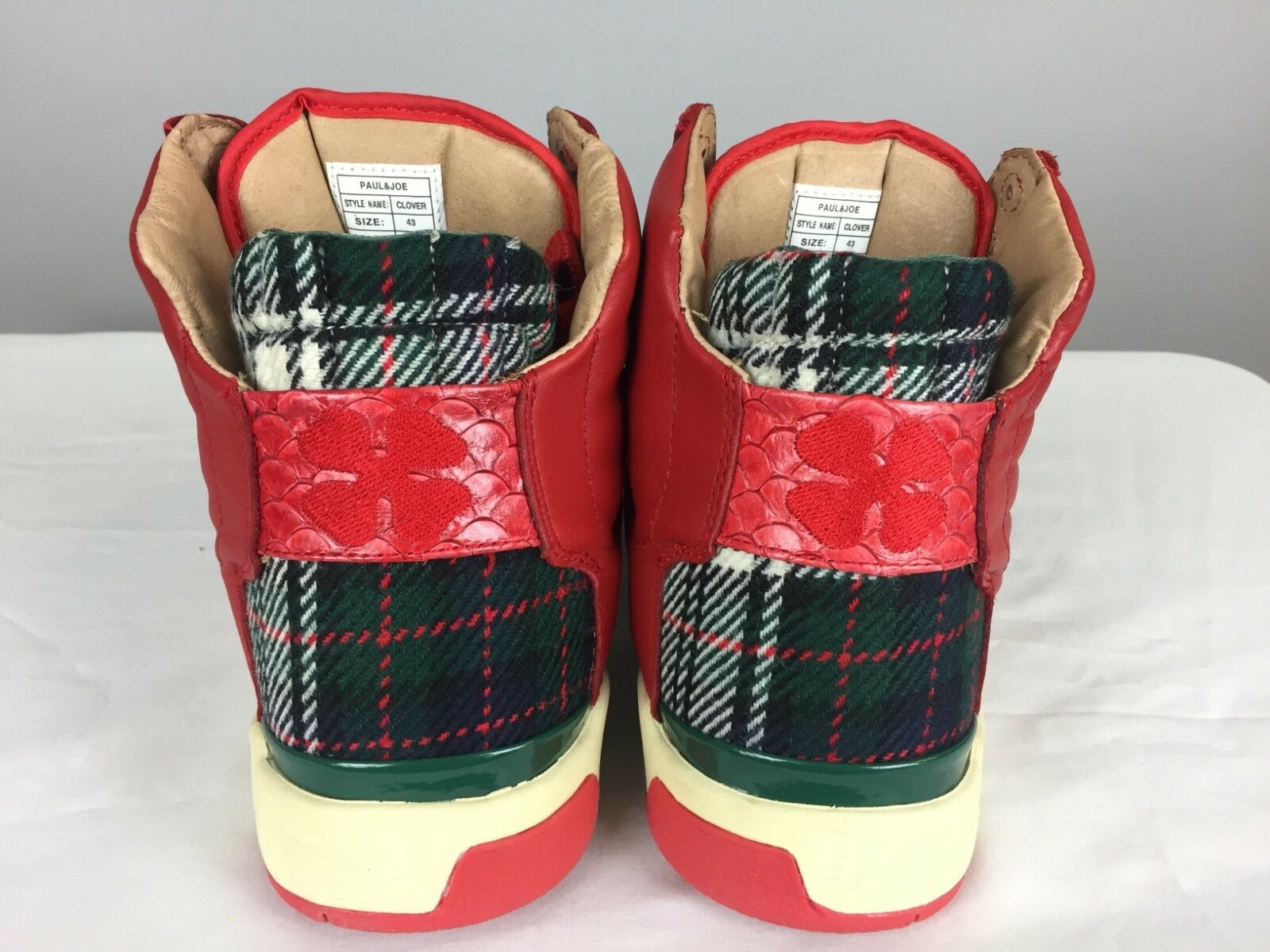 PAUL ROT/Grün & JOE X TERRA PLANA ROT/Grün PAUL 'Clover' Hi-Top Tartan/Skull Trainers. UK 9 65431f