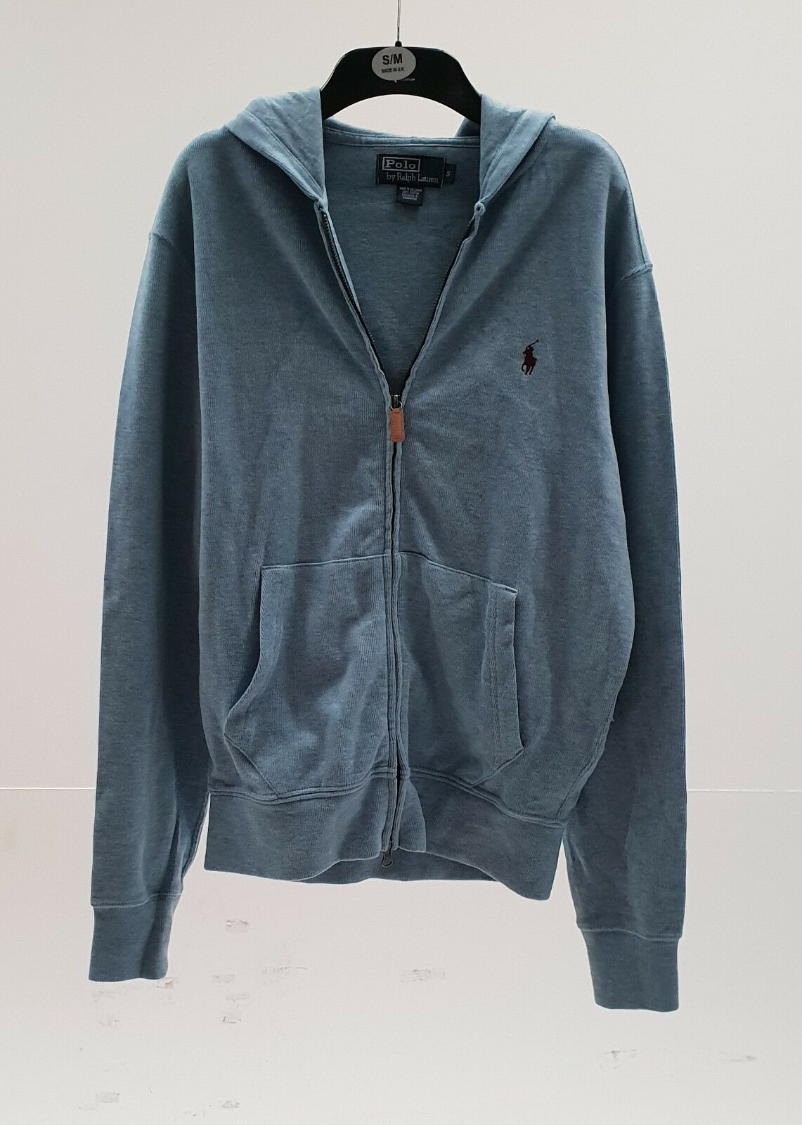 Polo Ralph Lauren HOODIE jumper,classic double zip up top sweater hoody S Blau