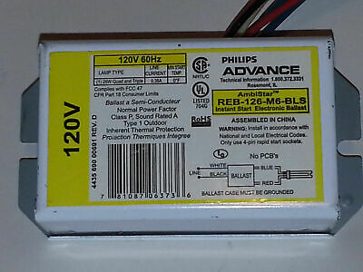 Advance//Ambistar REB-126-M6-BLS Ballast with NUTS /& 2 CONNECTORS NEW!! Philips