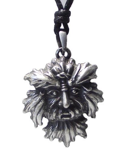 Pewter GREEN MAN Pendant on Adjustable Black Cord Necklace Nickel Free #4