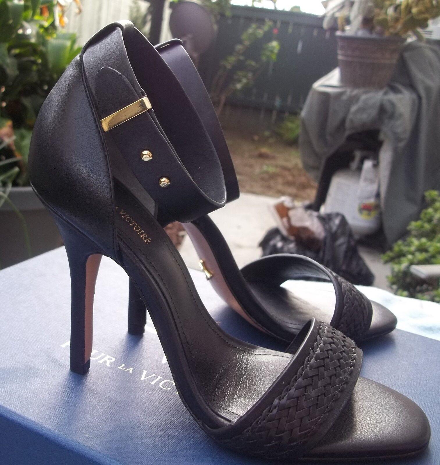 presa di fabbrica New Pour La Victorie nero Vachetta Leather Leather Leather Sexy Ankle Strap Heel Stilettos 6.5  vendita online