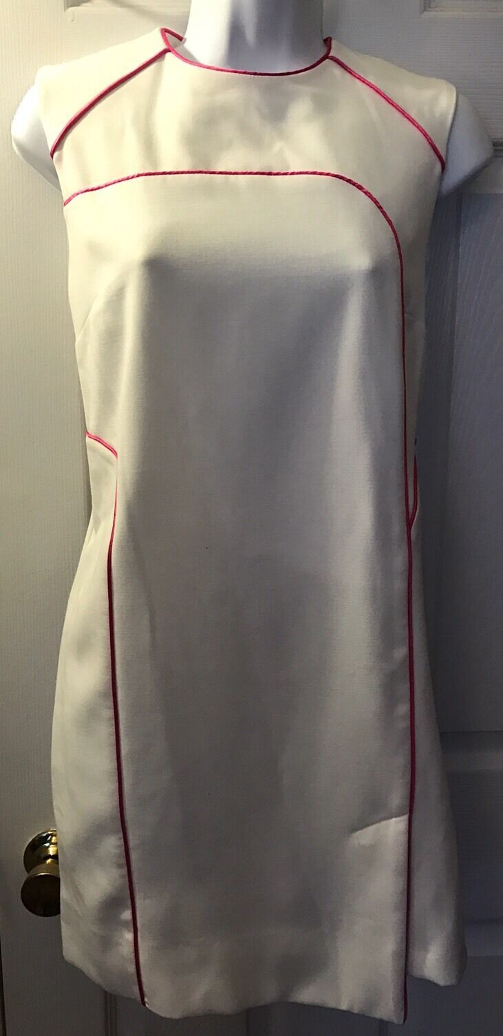 New Women's ASOS Dress Retro White Pink Trim Ponte Knit Exposed Zip Sz 4 Us 8 Uk
