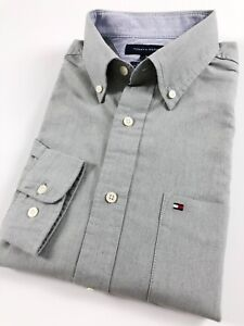 Tommy-Hilfiger-Chemise-Homme-Olive-Gris-Brosse-OXFORD-Classic-Fit-manches-longues