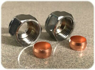 2 x 10 mm Plaqué Chrome Compression Nuts /& Cuivre Olives pour Microbore cuivre