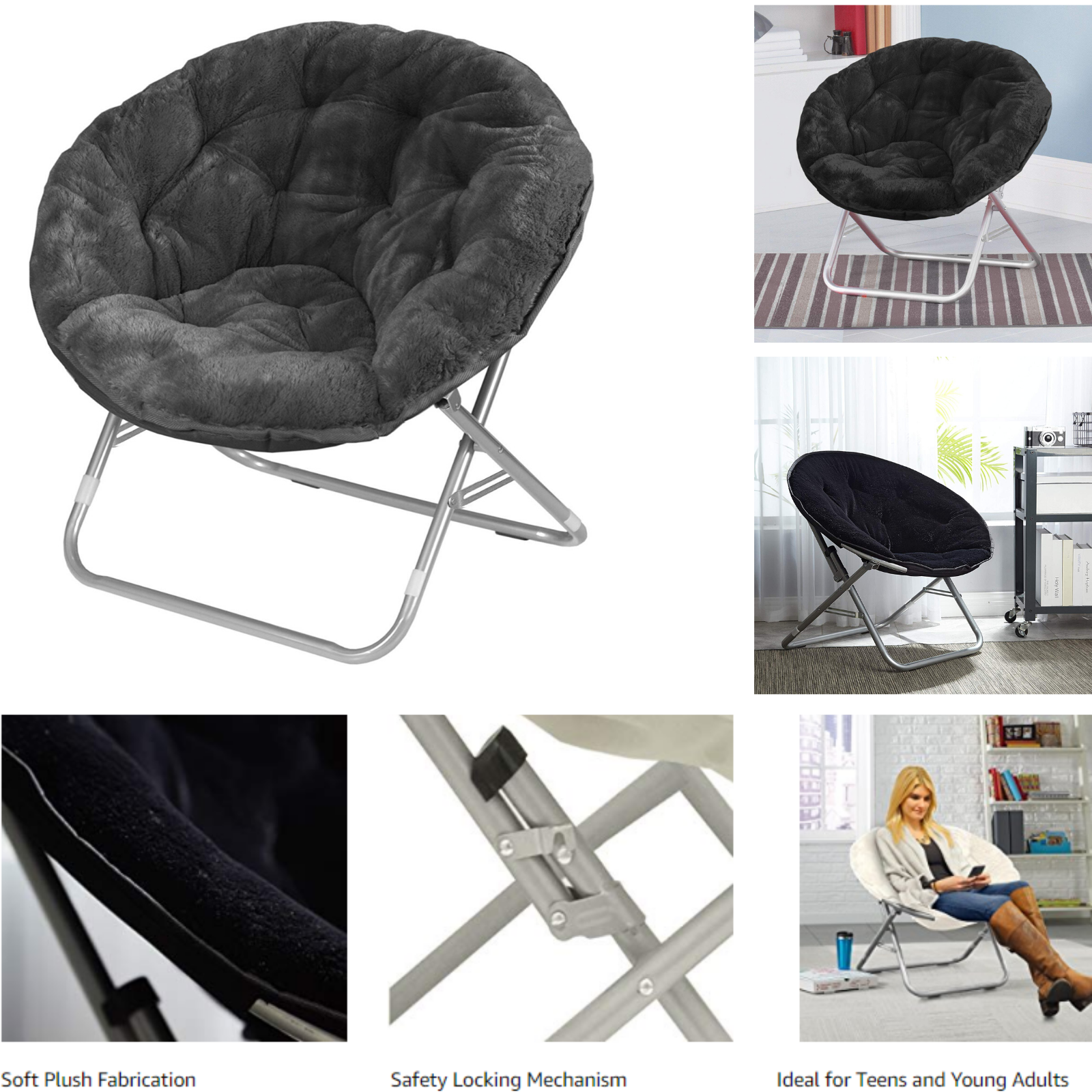 Urban Shop Wk659840 One Size Saucer Chair Black For Sale Online Ebay