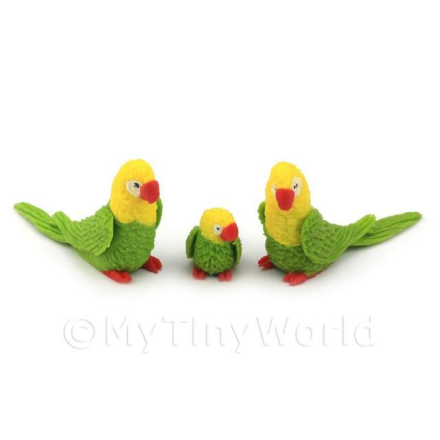 3 Green Dolls House Miniature and Yellow Parrots