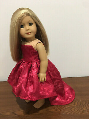 "Doll Clothes Red Hearts Prom Party Princess Dress Fits 18/"" American girl"