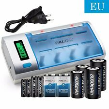 PALO Battery Charger For C D Size  AA AAA 9V Ni-MH Ni-CD Rechargeable Batteries