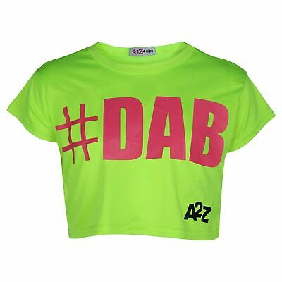 Special Section Kids Girls Crop Top #dab Neon Green Trendy Floss Fashion T Shirt Tops Tees 5-13