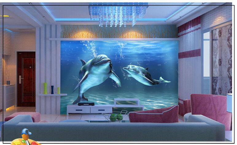 3D Errant Dauphin 7 Photo Papier Peint en Autocollant Murale Plafond Chambre Art