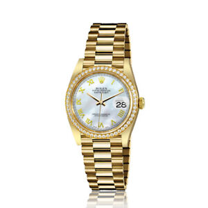 Rolex-31mm-Presidential-18kt-Gold-White-MOP-Mother-Of-Pearl-Roman-Numeral-Dial-D