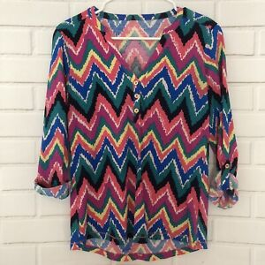 LILLY-PULITZER-Janelle-Multicolor-Chevron-Print-Cotton-V-Neck-Top-Size-Small