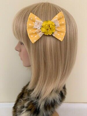 Mustard yellow white polka dot rose hair bow clip rockabilly Lolita lace pin up girl cute vintage shabby chic pretty floral flower