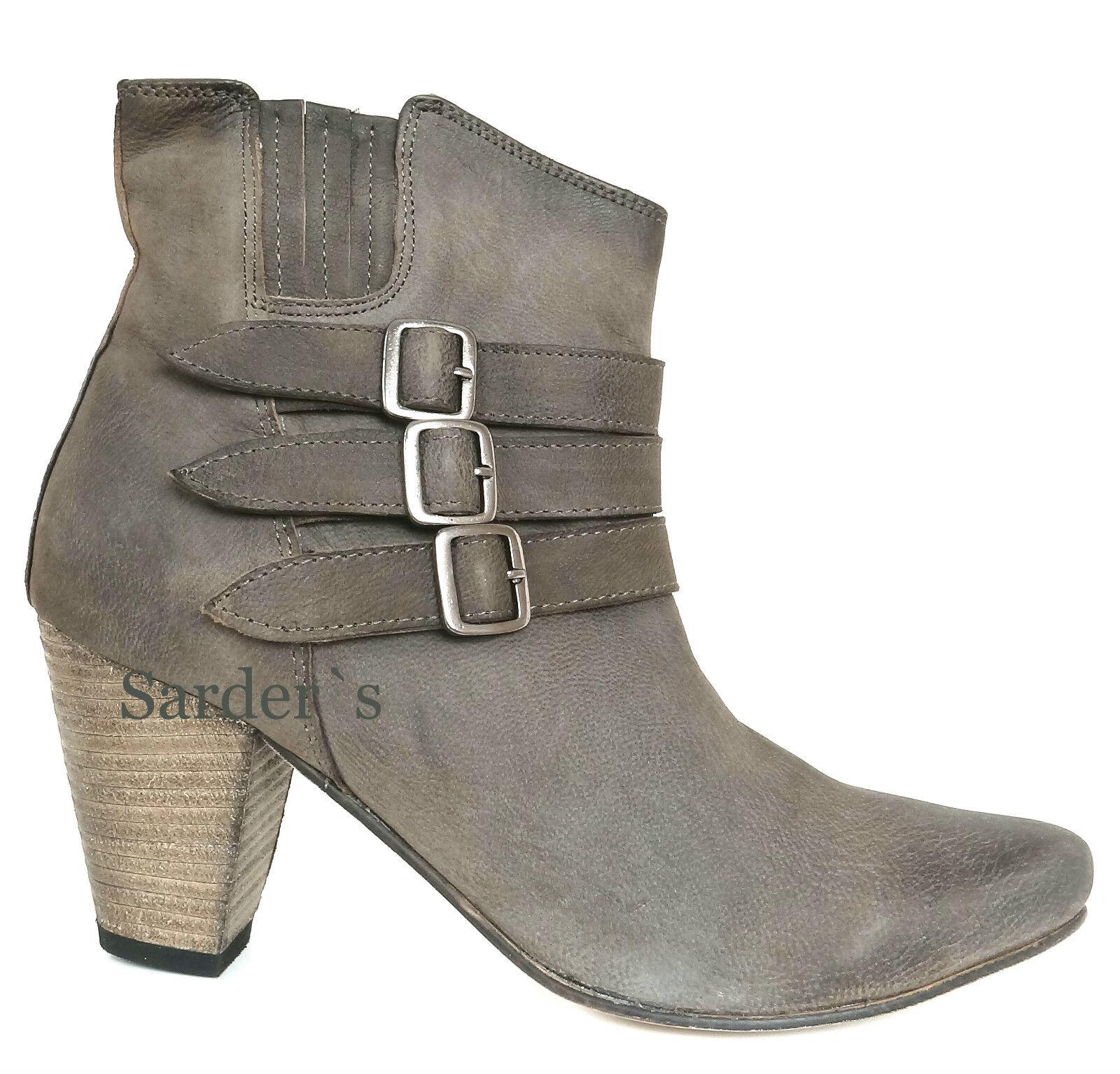 Xyxyx 39 Stiefelette 37 38 39 Xyxyx 40 41 42 Nappa Leder Edel Stiefel Grau Khaki Antik NEU 6671eb