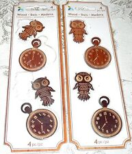 Momenta Wood Embellishments Owls & Pocket Watches - LOT of 2 Packs