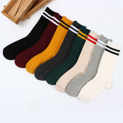 1 Pair Casual Unisex Stripe Socks Cotton Fashion Thick Warm Soft One Size Solid