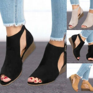 20317f001972e7 Women Sandals Wedge Heels Suede Leather T strap Ankle Strap Size ...