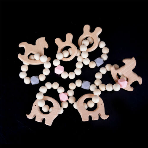 Wooden Stroller Toy Animal Shaped Jewelry Baby Teething Car Seat Rattl Strollers