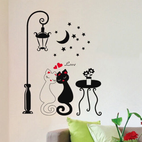 Black Couple Cat Removable Wall Decal Stickers Art Home Decor Living Room DIY SY