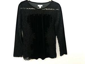 Sundance-Catalog-Velour-Top-Small-Black-Crochet-Lace-Long-Sleeve-Evening