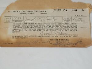 1950-CITY-OF-NORFOLK-VA-Speeding-Ticket-3-5-034-x-7-034
