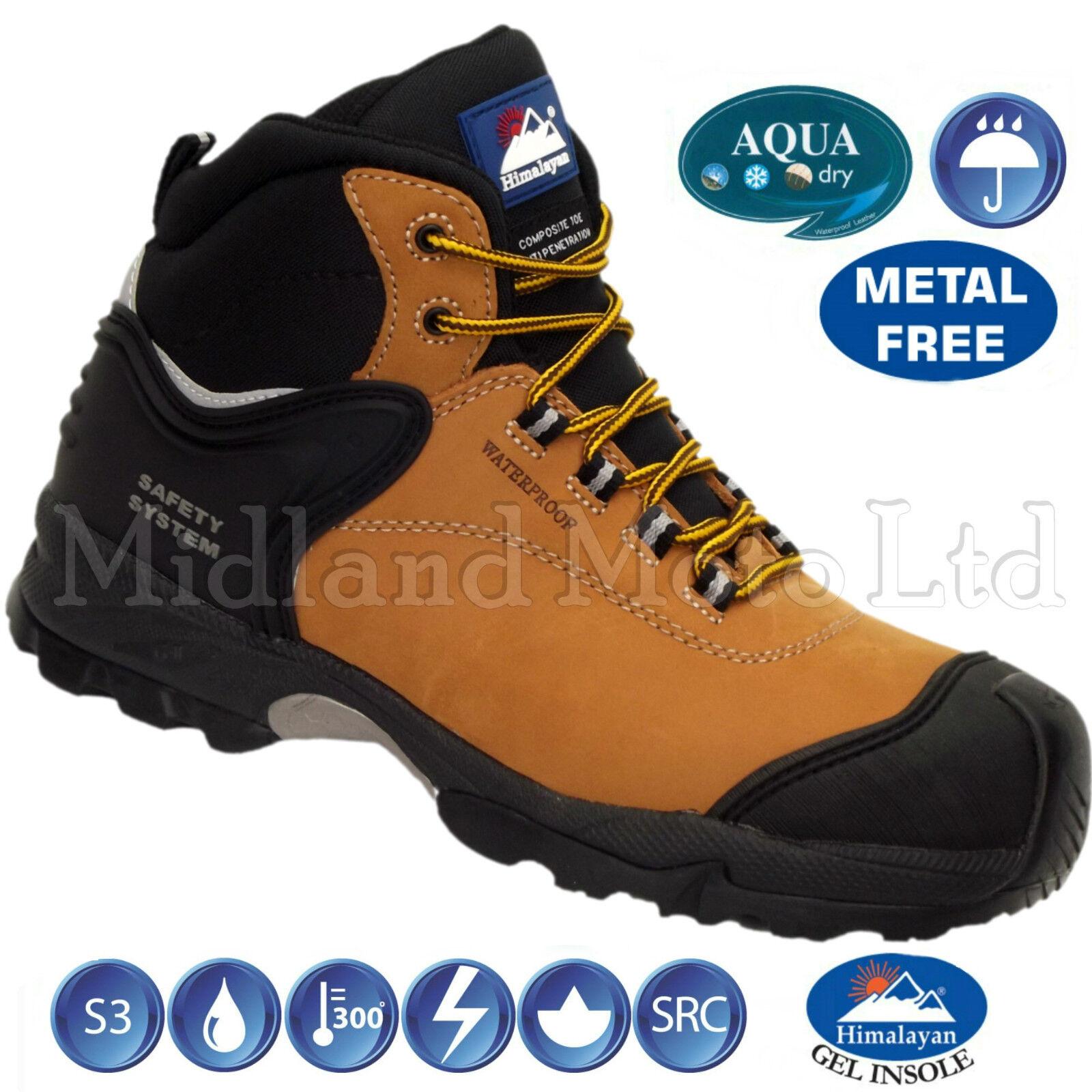 Waterproof Composite Toe Cap S3 Honey Nubuck Safety Boots, No Metal,  Detecting