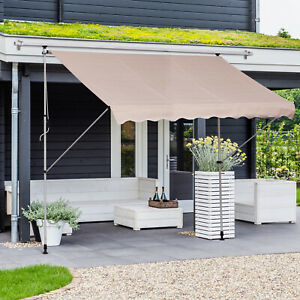 9.8'x4.9' Manual Retractable Patio Awning Floor- to ...