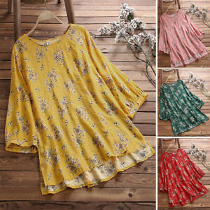 Plus-Size-Women-Boho-Floral-Long-Sleeve-Blouse-Loose-Tops-Tunic-Shirt-Hippie-Top