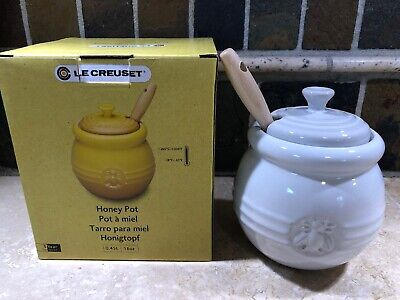 White 16 Oz Le Creuset Honey Pot Silicone Dip Stick Nwt Stoneware Condiment 630870044950 Ebay