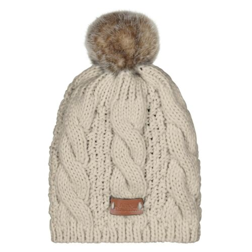 Aran Traditions Womans Men Winter Warm Knitted Faux Fur Bobble Beanie Hat