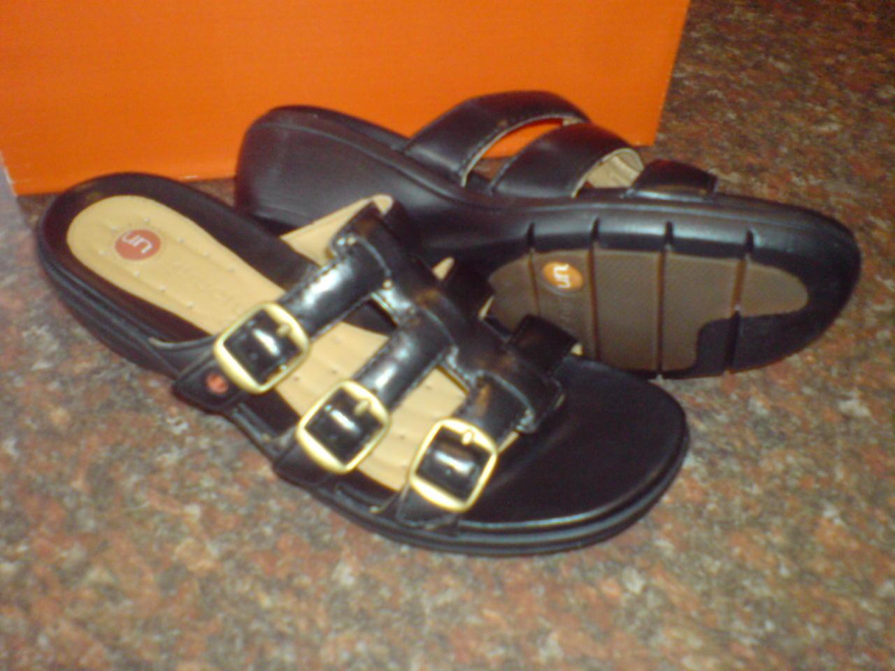 Clarks Damen Unstrukturierten Un Shock. Schwarz Sommer Sandalen UK 6.5 D