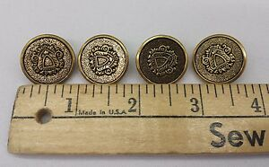 Gold-Metal-Buttons-w-Crest-Set-of-10-7-8-034