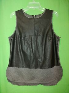 1149) BANANA REPUBLIC medium black gray pleather knit pullover sleeveless top M