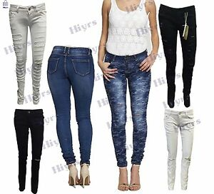 e97c5f7e4ebe2 Image is loading JEAN-WOMENS-LADIES-SKINNY-RIPPED-JEANS-STRETCHY-DENIM-